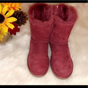 UGG Shoes - UGG Burgundy Short Bailey Bow Boots